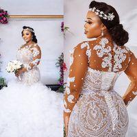 Plus Größe Illusion Langarm Brautkleider 2021 Sexy Afrikaner Nigerianer Juwel Hals Schnürrückseite Zurück Meerjungfrau Applique Brautkleider
