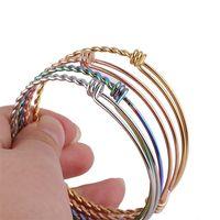 DIY aço inoxidável expansível pulseiras ajustáveis pulseira para mulheres homens 55mm 60mm 65mm tamanho torcido fio de fio pulseira jóias 139 O2