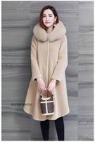 Pelliccia da donna Faux Full Hooded Real Agnello Cappotto agnello a metà lunghezza Una lana di inverno di colore solido oversize 2021 Y29