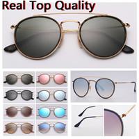 Frauen Sonnenbrille Runde Doppelbrücke Modell Echte Top Qualität Frauen Männer Sonnenbrille mit schwarzem oder braunem Ledertasche, und alle Einzelhandelspaket!
