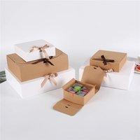 10pcs Kraft Kağıt Pişirme Çerezler Ayaklı Hediye Kutusu Kutu Doğum Düğün Box Favor Packaging Merry Christmas Gömlek Packaging