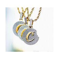 18k Gold Plaqua Biscuits Pendentif Collier glacé sur le zircon cubique Hip hip hop hip hip hommière wmthbt lihuibusiness