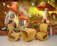 3D Cartoon Wallpaper conte de fées du monde Champignon Chambre d'enfant Fond d'écran mural Home Improvement Wallpaper