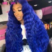행운의 여왕 가발 브라질 깊은 웨이브 블루 컬러 투명 레이스 부 인간의 머리 가발 사전 뽑아 들어 블랙 여성 180퍼센트 밀도
