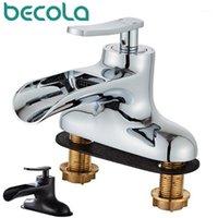 Robinet de salle de bain robinets Becolabathroom Robinet et lavabo à eau froide Basine double trous baignoire à trois trous lavabo laiton TAP1