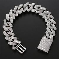 20mm diamante miami príbulo link cubano braceletes 14k ouro branco gelado gelado zircônia cúbica jóias 8 polegadas 9inch pulseira cubana
