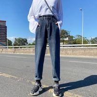 Koyu Mavi Kadınlar Yüksek Beled Kot Anne Sağlam Pamuklu Denim Pantolon Bayanlar Jean Pantolon Erkek Arkadaşı Rahat W0104