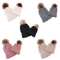 2020 Parent-child Knitted cap 5 Colors Winter Warm Hemp flower design process Knitted Caps Outdoor Beanie