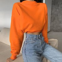 Hot Style Womens Clothingp Solid Color Cropped Fashion Street Sweatshirt Womens European and American Autumn and Winter New Commute Leisure