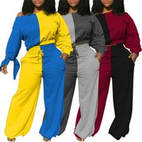 Designer Womens Tracksuit Dois 2 Peças Definir Outfits Contraste Color Stitching Sexy Off Ombro Bat Sleeve Top Casual Sportswear Terno