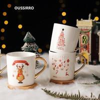 أكواب OUSSIRRO 350 ملليلتر كوب السيراميك كوب الخزف كوكبة موضوع luckymerry عيد الميلاد القدح مع علبة هدية للأصدقاء
