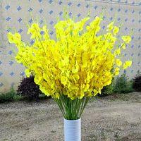 Flores decorativas grinaldas 6 pcs dança-senhora orquídea flor artificial casamento decoração de festa de casas amarelo wenxinlan phalaenopsis planta