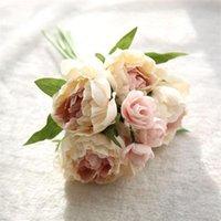 Flores artificiales para la decoración de la decoración Hogar Fake Silk Paño Lotus Ramo Floral Fiesta Decoración para el hogar Bouquet Barato 2021