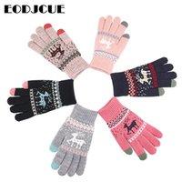 Fünf Fingern Handschuhe Großhandel Winter Touchscreen Frauen Männer Warme Stretch Strickhandschuhe Imitation Wolle Finger Finger Finger Dicke