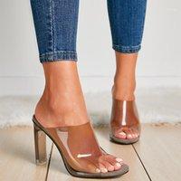 Zapatos de vestir CJDLY PVC Crystal Square Heel Transparent Clear Tacones altos Tacones de mujer Zapatillas Sandalias de verano Bombas 11cm Tamaño 35-421