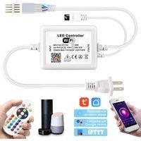 Contrôleurs RVB, Contrôleur de changement de couleur WiFi haute tension avec système de contrôle de l'application de télécommande et de musique IR pour 90 pieds AC110 ~ 130V. Tape