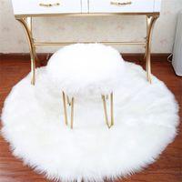 Reine Farbe Rundkreis Teppich Imitation Wolle Wohnzimmer Schlafzimmer Plüsch Teppich Hängende Korb Zelt Schwenkeleisstuhl Kissen Heißer Verkauf 14 99oy J2