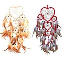 Arti e artigianato all'ingrosso- cuore sogno catcher marrone parete rossa appeso con decorazioni per ornamento per perline piuma1