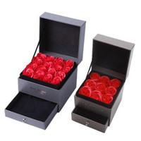 Mini Yapay Gül Romantik Sevgililer Günü Hediye Düğün Anneler Günü Festivali Yaratıcı Gül Sabun Çiçek Mücevher Kutusu Seti