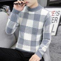 Мужские свитеры имитация норки бархатная водолазка с длинным рукаваным вязаным свитером человека геометрический рисунок цвета соответствующий базовый пуловер Winter1
