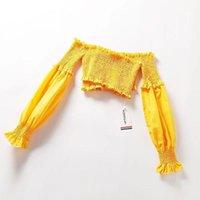 T-shirt Femme Vols Sexy Tube élastique Plissé Top Top Ruffled Mousseline de soie Collier Femme Collier Lanterne Sleeve 2021 Summer1