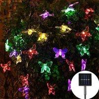 Borboleta azul string solar luz de rua da rua decoração ao ar livre para jardim grama árvore diodo emissor de luz diodo emissor de luz decorativo flor festoon 201023