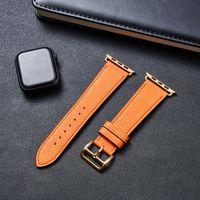 ل Apple Watch Leather Band 38MM 40MM 42MM 44MM IWatch Series SE 6 5 4 3 2 جودة عالية استبدال الشريط الفاخرة