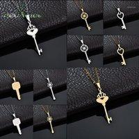 Pendentif Colliers Nextvance Trendy Acier inoxydable Collier à clé creuse pour femmes Gold Lucky Crown Crown Coeur Neckalce Saint Valentin Cadeau1