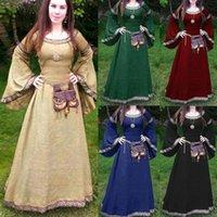 Casual Dresses Mittelalterliche Cosplay Kostüme für Frauen Kleid Halloween Karneval Party Performance Langarm Mittelalter Renaissance