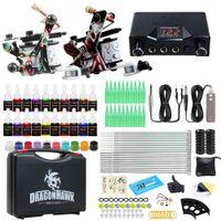Complete tattoo kit 2 machines voeding naalden inkten grip draagtas HW-8GD-9