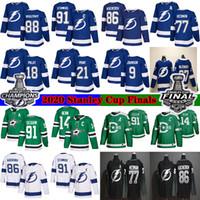 Tampa Bay Lightning 2020 Finales de la Copa Stanley 86 Nikita Kucherov 77 Victor Hedman 21 Brayden Point Dallas Stars 91 Seguin14 Benn hockey jersey