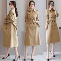 Autumn Women Casual Trench Coat Lady Elegant Double Breasted Vintage Long Trench Windbreaker Female Sash Long Coats Outerwear