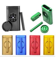Dugout Mühle Kit Prise Hitter Raucher GrinderCase 3 in 1 Mühle Rohr Metall Aluminium Hülle mit Lagerung Cotainer Für Tabak Trockner Kraut