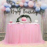 Gonna da tavolo Tulle Tovaglia rosa per tavoli rettangolo Baby Shower Banchetto Banchetto Compleanno Party Gonne Gonne Decorazioni per la casa