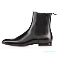 uiFashion Elegante Business Designer Pelle Uomo Nero Cavaliere High Top inferiori rossi, marca piatto caviglia Casual Shoes LTS