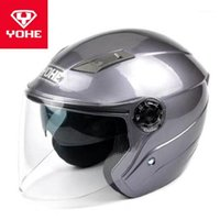 2020 New Fashion YOHE Half Face Motorcycle Helmet Double lens Motorbike helmets Safety protection map hat of ABS PC Lens visor1