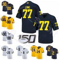 NCAA Football Michigan Wolverines Koleji 1 Anthony Carter Jersey 76 Steve Hutchinson 22 Ty Kanunu Jake Long Tom Harmon Lacivert Beyaz Sarı