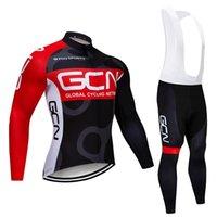 투르 드 프랑스 2020 프로 팀 GCN 겨울 사이클링 저지 열 양털 의류 턱받이 바지 키트 로파 Ciclismo Inverno