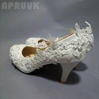 Robe chaussures pleine dentelle plus tailles pompes de mariage à la main mariée de luxe de luxe appliques plateformes de mariée ivoire femme