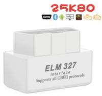 슈퍼 미니 ELM327 V2.1 블루투스 25K80 칩 자동 코드 리더 진단 작업 다중 자동차 ELM 327 OBD2 캔 버스 테스터