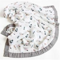 120 * 6 Camadas Bambu Baby Muslin Cobertor Recém-nascido Swaddles Soft Cobertores Banheira Gaze Infantil Envoltório Sleepsack Multi-usa fralda LJ201014