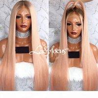 Lady fuoco differenziale Rosa merletto pieno parrucche Pre pizzico Con Capelli del bambino diritto del merletto dei capelli della parte anteriore umani del Virgin Ombre parrucca rosa chiaro
