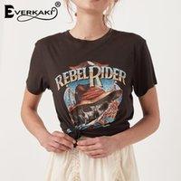 Everkaki Rebel Rider Baskı T-Shirt Kadın Boho Üst Pamuk Siyah Vintage Yaz Bohemian T-Shirt Tops Kadın Bahar Yeni Y200111