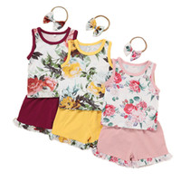 Baby Girls Shorts Suits Infant Floral Vest Toddler Flower Pr...