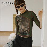 CHEERART Vintage Mesh Crop Top T Shirt Women Printed Tshirt Summer High Neck Top Tee Shirts Femme Designer Ladies Aesthetic