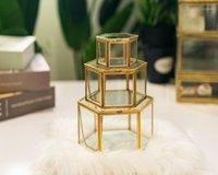 Saklama kutusu vintage geometrik cam mücevher kutusu retro küpe yüzük çiçek bitkileri vitrin düğün makyaj organizatör1