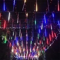8PCS 50CM أزرق أبيض RGB LED تساقط الثلوج ماء النيزك دش المطر أنابيب الخفيفة للديكور حفل زفاف في الهواء الطلق عطلة عيد الميلاد