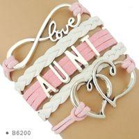 Charme Armbänder Infinity Love Family Geschenke für Tante Tante Nichte Neffe Baby Fußfüße Doppel Herz Leder Wrap Wolke1