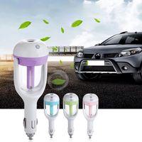 Car Plug-humidificateur d'air Purificateur, humidificateur à ultrasons véhiculaire huile essentielle parfum arôme voiture brouillard Diffuseur