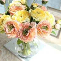 2 -Head Silk rose artificiel floral bouquet floral fausse fleur arrangement table marguerite marguerie de mariage fleurs de décoration accessoire flores1
